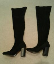 Faith Knee Length Boots Suede Nubuck Black Size UK 36 EU 36 Excellent Condition