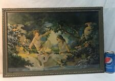 Vtg 1920-30's Art Deco Two Women Swan Lake Greek Urn Flowers Lithograph Print