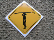 surfer girl crossing road sign surfboard surfing sticker decal longboard cool ya