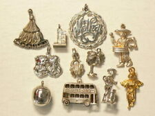 🍁 Vintage Silver Charms Lot of 11 Angel Jambee Masks Bus #4795
