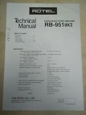 Rotel Service/Technical Manual~RB-951 MKII Amplifier~Original
