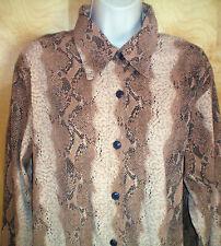 NWT womens ladies size 14/16 khaki tan brown snakeskin l/s stretch tunic shirt