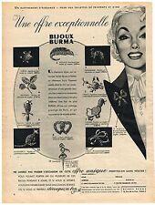 PUBLICITE ADVERSTISING  1950   BURMA  bijoux