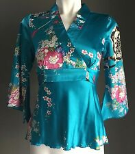 Silk Look Multi Colour CM FASHION Asian Inspired Print Tie Back Top Size S/8
