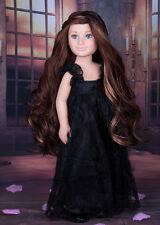 KARITO KIDS DOLL OOAK Leza blue eyes 20'' custom long brown hair, black dress