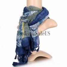 De la mujer Bufanda algodón y lino Vintage Bohemio impresión Muti Color Azul Largo Abrigo