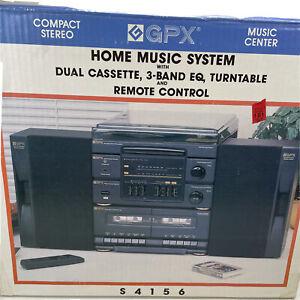 Vintage GPX Home Music System Dual Cassette Turntable Radio Speakers S4156 NIB