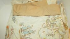 vintage Bill Blass Springmaid twin flat fitted sheet set Nautical ships maps USA