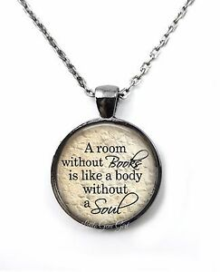 Book Lover Reading Literary Library Teacher Pendant Necklace or Key Chain Charm