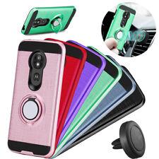 For Moto G7 Play E5 Play G7 Power Supra Case Hybrid Armor Ring Stand Cover+ Film