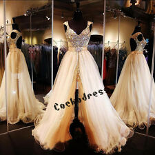 Gold Crystal Prom Dresses Detachable Skirt Evening Gowns Celebrity Party Dresses