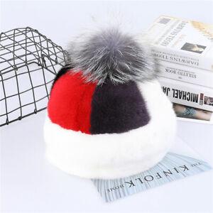 Women's Genuine Mink Beanie Hat Fashionable Lady Fox Fur Pom Poms Winter Caps