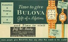 1930s Oklahoma City Jeff Beaty Jewelers Bulova Watch Advertising Postcard