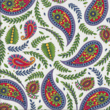 Imperial Paisley Ferns on White Quilting Fabric FQ or Metre *New*