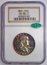1963 Franklin Proof Silver Half Color Rainbow Toned ~ NGC PF66 PF 66 Green CAC