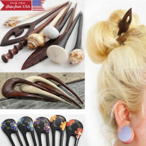 Boho Wood Organic Double/Single Prong Hair Sticks Hairfork Updo Bun Holder USA