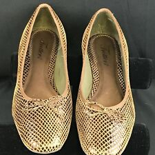 Trotters Womens Flats Gold Brown 7.5M Leather Ballerina Toe Bow Made in Brazil