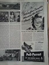 1942 Poll Parrot Childrens Shoes Little Girl Daughter Star Brand Original Ad