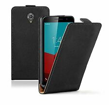 SLIM BLACK Leather Flip Case Cover Pouch For Vodafone Smart Prime 7 (+2 FILMS)