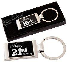Birthday Engraved Keyring Choice of Design 16th 18th 21st 30th Present Gift Box