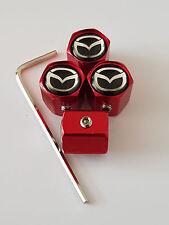 MAZDA BLACK TOP RED ANTI THEFT DUST VALVE CAPS ALL MODELS RETAIL MAZDA3 MX-5