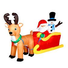 Reindeer Sleigh 200cm LED Beleuchtett Santa Inflatable Christmas Decoration