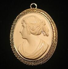 ANTIQUE CARVED LAVA CAMEO BROOCH/ PENDANT