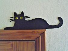 Black Cat Door Topper shelf picture frame wall art wood black gift cat lover