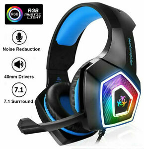 Gaming Headset For Xbox One PS4 PS5 Nintendo Switch PC 3.5mm Mic Headphones LED+