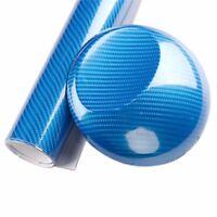 Blue 5D 60x152cm Ultra Shiny Gloss Glossy Carbon Fiber Vinyl Wrap Sticker Decal