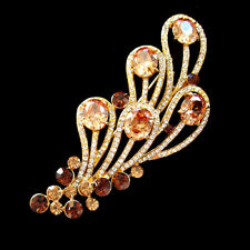 Golden Colour Crystal Rhinestone Peacock Tail Brooch