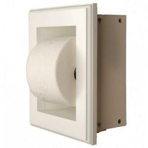 Toilet Paper Holder Wood Recessed Handles Mounting Hardware Screwed White