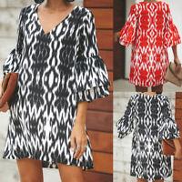 Women Summer Beach Mini Short Sundress Plus Size Bohemian Printed Floral Dress