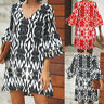 Plus Size Women Ruffle Sleeve Floral Mini Dress Ladies Summer Beach Sundress Top
