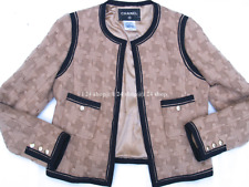 CHANEL  08A PARIS-LONDON NUDE- BEIGE WOVEN WOOL BLACK TRIM TWEED JACKET-44