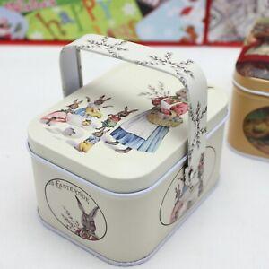 Vintage Easter Rabbit Theme Small Suitcase Storage Tin Candy Box Gift Box  Dekor