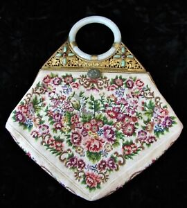 Antique Chinese Export Petit Point Embroidered Jeweled & Jade Purse Handbag
