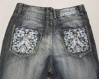 """Angelino Mens Distressed Jeans Dark  Pocket Design Size 40 x 34 Inseam 31"""""""