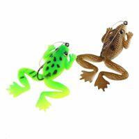 4Pcs simulation grenouille appat 60mm Leurres de peche 2 couleurs avec mani D5U4