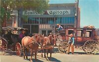 Old Chrome Postcard Arizona I012 Tombstone Epitaph Newspaper Office Stage Buggy