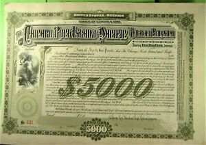 Chicago, Rock Island & Pacific RR, $5,000 bond, 1891, Nice Vignette