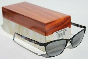 MAUI JIM Popoki POLARIZED Womens Sunglasses Satin Black/Gray $300 NEW