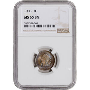 1903 US Indian Head Cent 1C - NGC MS65 BN