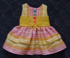 "18"" Doll Pink & Yellow Print Sun Dress (Fits American Girl) - New - Cute!"