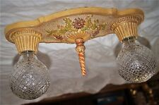 SET OF 2 ANTIQUE DECO CHANDELIERS CAST IRON MARKEL FLUSH MOUNT CEILING FIXTURE