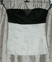JANE NORMAN Black & Cream Stretch Strapless Top ~ Size 10 ~ NWT