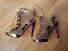 NEXT RUNWAY PLATFORM SHOES Beige Brown Suede Leather Strappy Sandals 4.5 / 37.5