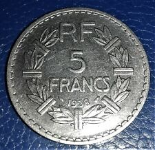 5 FRANCS 1938 NICKEL LAVRILLIER-  Qualité TTB ++