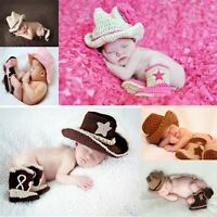 Baby Boy Girl Crochet Knitted Beanie Bowler Hat / Shoes Boots Slipper Outfits
