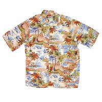 REYN SPOONER Vintage Hawaiian Beach Scene Picnic Surfboard Mens Shirt sz S /9293